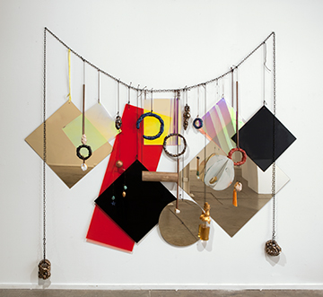 'Wall Necklace', perspex, acrylic, steel, rope, bronze, glazed ceramic, whiskey, glass, leather, shoelace, 230 × 210cm,  2013
