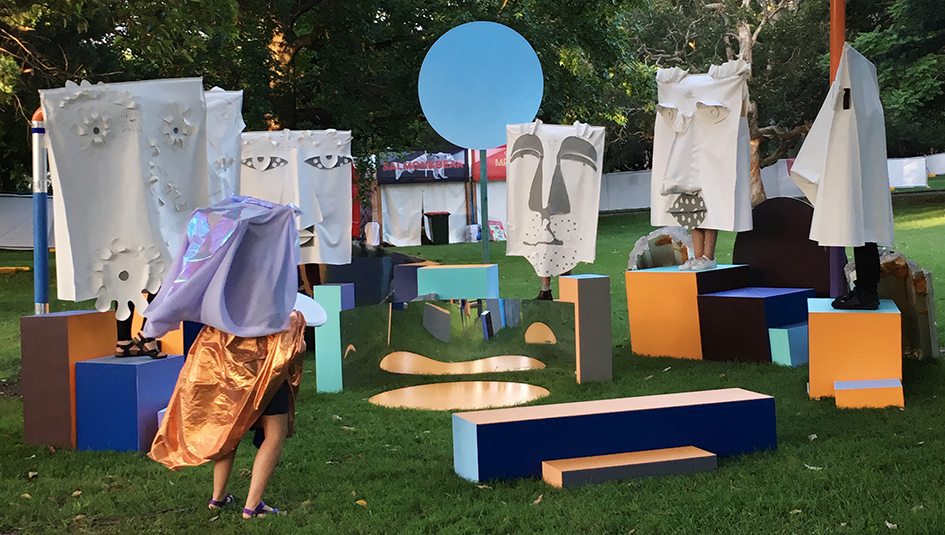 'Apex on the Honey Flaxen Gaze/ Sinking Inwards and Singing for New Stars/ Six footholds hugging from a distance at sunset again', 2016, installation view, 'Sunday Punch' curated by Liam Garstang, 2016 Laneway Music Festival.