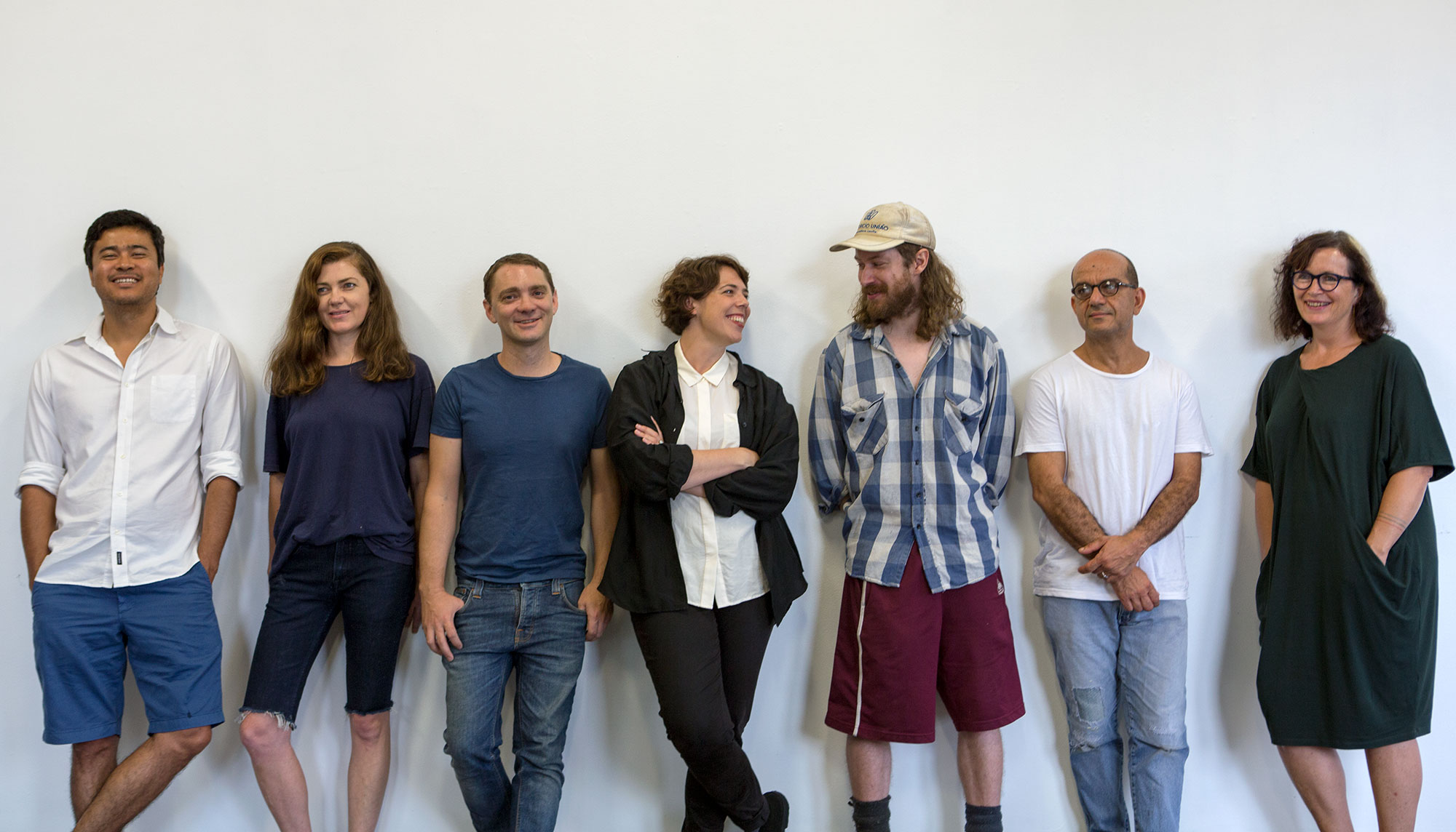 2015 One Year Studio Artists Khadim Ali, Clare Milledge, Tim Silver, Kelly Doley, Nick Dorey, Hany Armanious and Mikala Dwyer. Photo: Jessica Maurer
