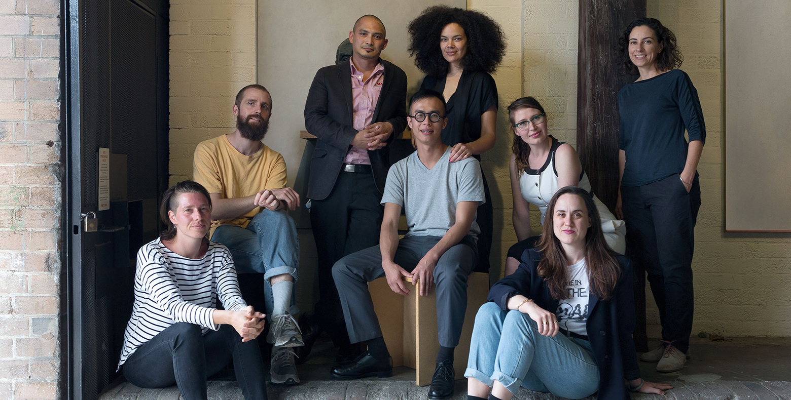 Image: 2016 NSW Visual Arts Fellowship finalists (left to right): Cigdem Aydemir, Tully Arnot, Adri Valery Wens, James Nguyen, Angela Tiatia, Frances Barrett, Giselle Stanborough and Consuelo Cavaniglia. Absent: Tim Bruniges and Julian Day