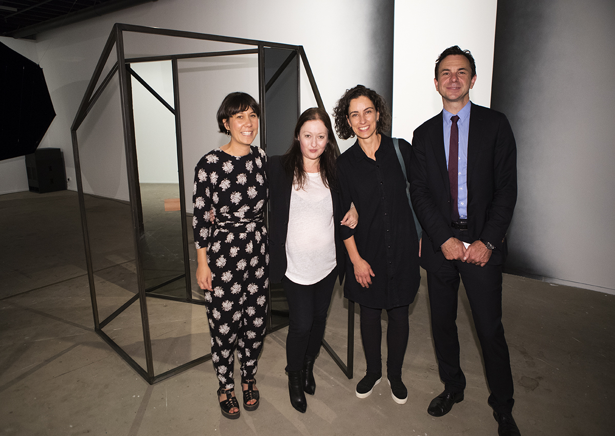 Image: Recipient, 2016 NSW Visual Arts Fellowship (Emerging), Consuelo Cavaniglia with Managing Director, FBi Radio and selection committee Chair, Clare Holland, Artspace Executive Director, Alexie Glass-Kantor and Arts NSW Executive Director, Michael Brealey and her work Untitled and Untitled (simultaneous spaces), 2016, installation view, Artspace, Sydney. Courtesy the artist. Photo: Zan Wimberley.