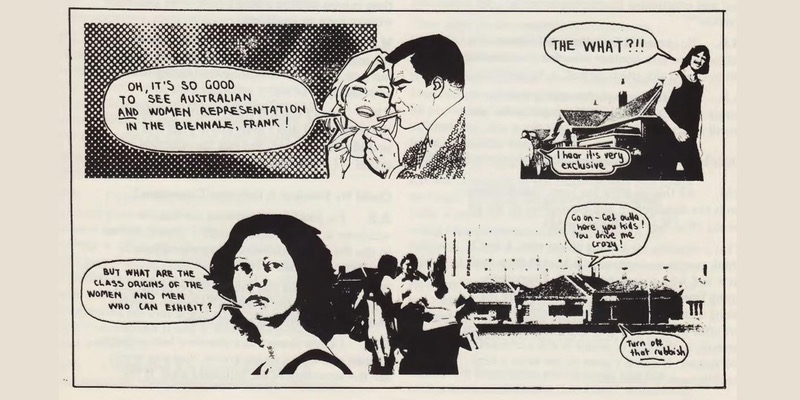 Kelly Hoare and Jeff Stewart, illustration reproduced in 'Sydney Biennale: White Elephant or Red Herring? Comments from the Art Community', Student Representative Council of the Alexander Mackie College of Advanced Education, Sydney, 1979, p. 31