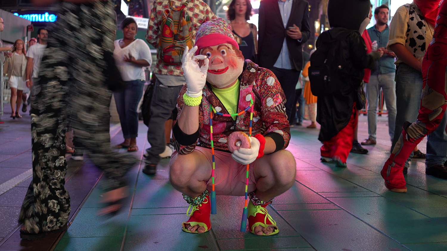 Video still from footage shot on-location in Times Square, New York June, 2016 during production of LIFE IS SEXY. Camera: Jodie Whalen.