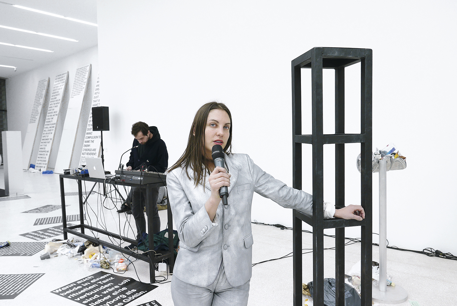 Lili Reynaud-Dewar, 'TEETH, GUMS, MACHINES, FUTURE, SOCIETY', exhibition and performance with Ashley Cook and Hendrik Hegray at Museion in Bolzano, Italy, 2017, courtesy the artist. Photo Marina Faust