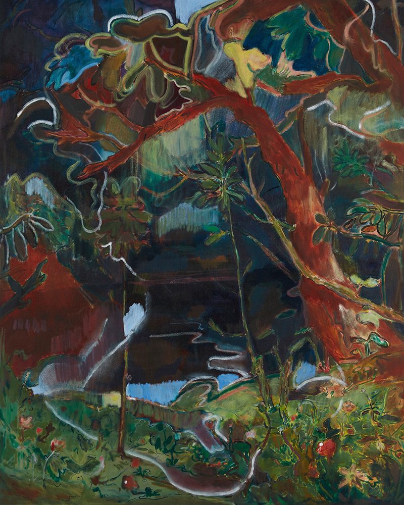 Seth Birchall, 'Find A Dark Quiet Place And Let Gravity Work For You (Secret Fishing Spot)', 2017, oil on canvas, 153 x 122 cm, courtesy the artist