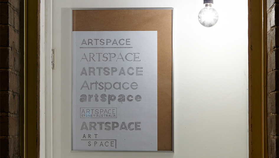 Adrian Gebers, 'ARTSPACE LOGOS 1983 – 2015', 2015, graphite on paper, electric light bulb. Photo: Zan Wimberley