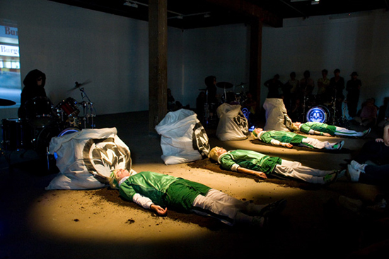 The Kingpins, 'Starbucks Requiem', 2008, performance still, Artspace, Sydney, 2008