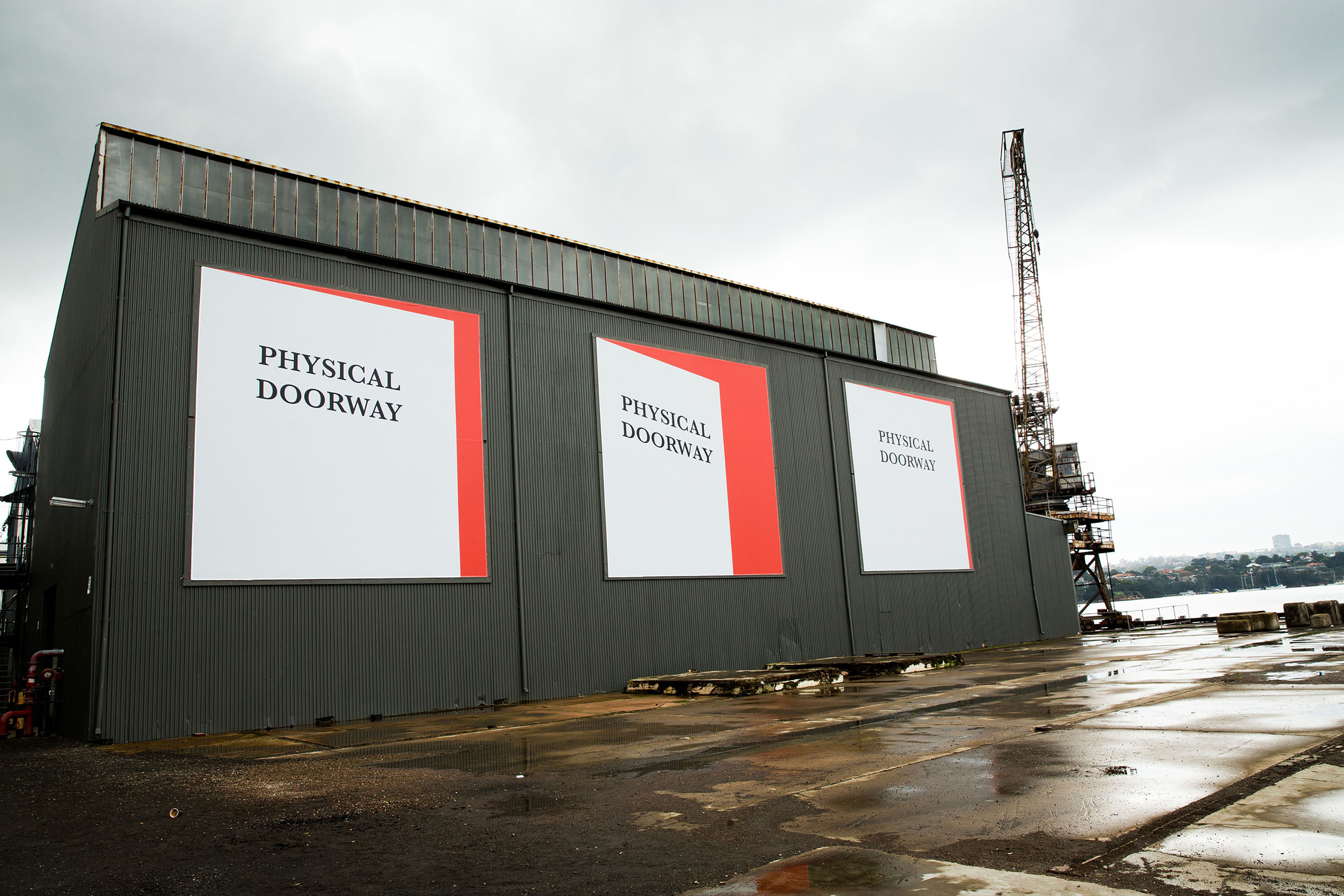 Agatha Gothe-Snape, 'Physical Doorway (Three Ways)', 2016, digital print on mesh PVC banner, three parts, 700 x 700cm each, 20th Biennale of Sydney, curated by Stephanie Rosenthal, Cockatoo Island, Sydney. Photo: Ben Symons. Image courtesy the artist and The Commercial Gallery, Sydney
