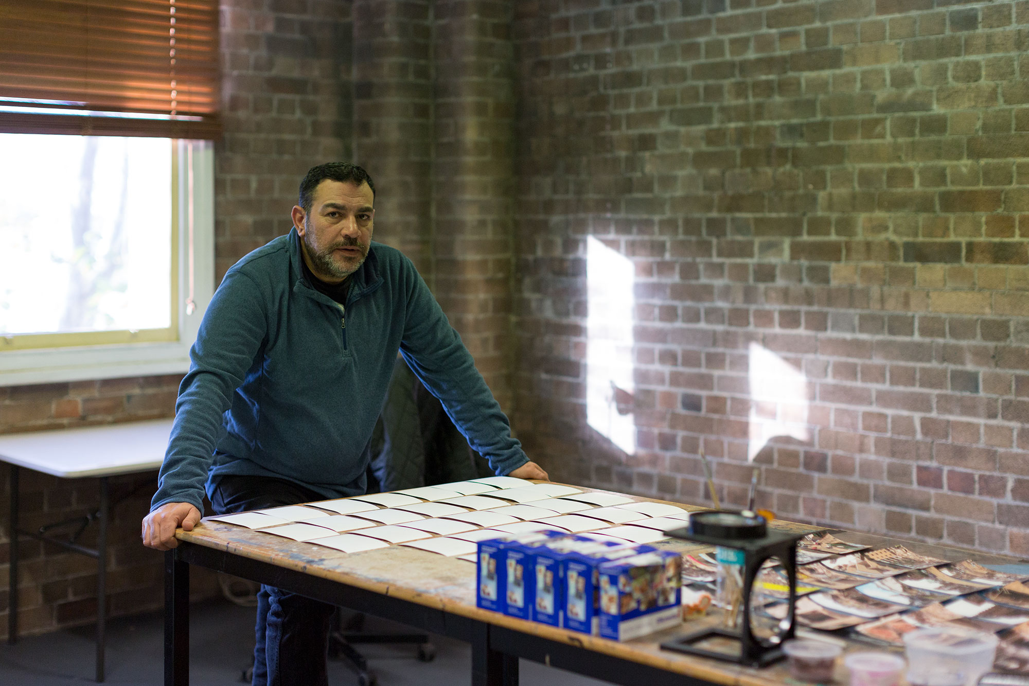 Khaled Sabsabi in his Artspace Studio, 2016. Photo: Jessica Maurer