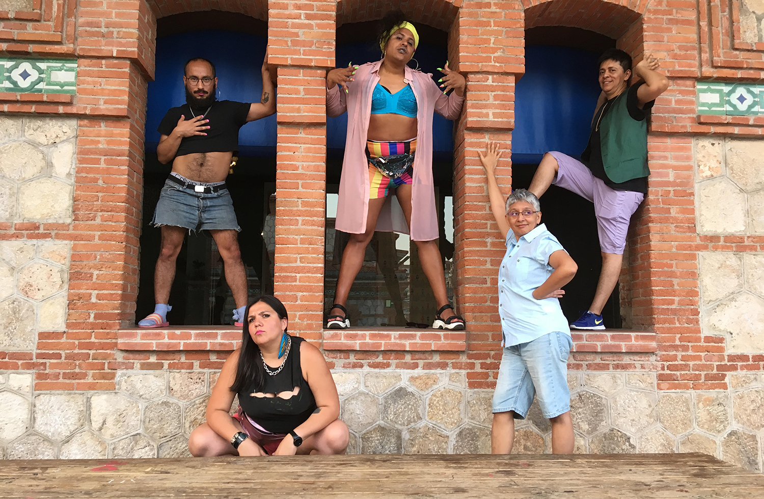 Colectivo Ayllu, 'the abominable sin of sodomy', 2018, photo-performance at the Wharf of the Caravels, Palos de la Frontera, courtesy the artists